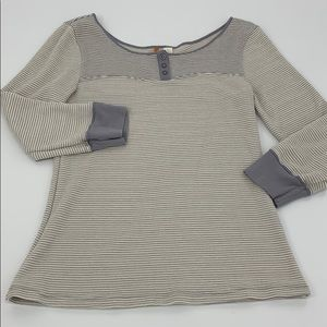Anthropologie Gray Striped Saturday Thermal. Sz. L